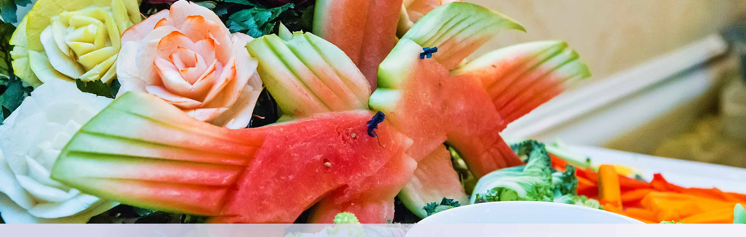 Event Banner 2 Watermelon Carved Like Fish Event Catering