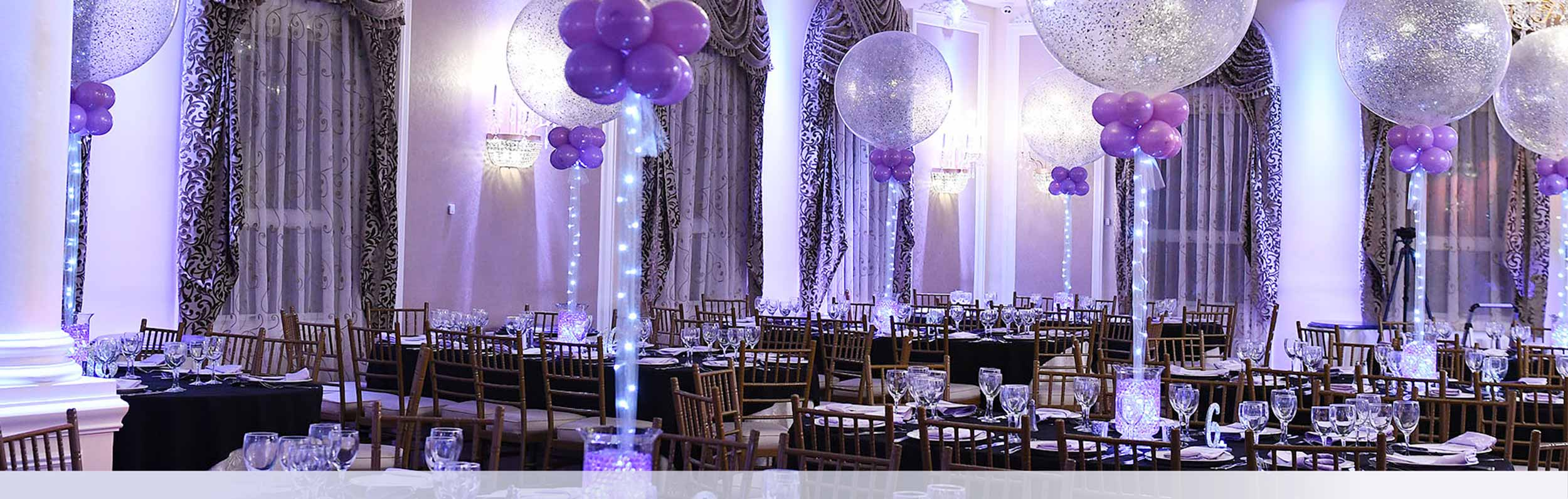 Mitzvah Banner 3 Purple Table Setup Balloons