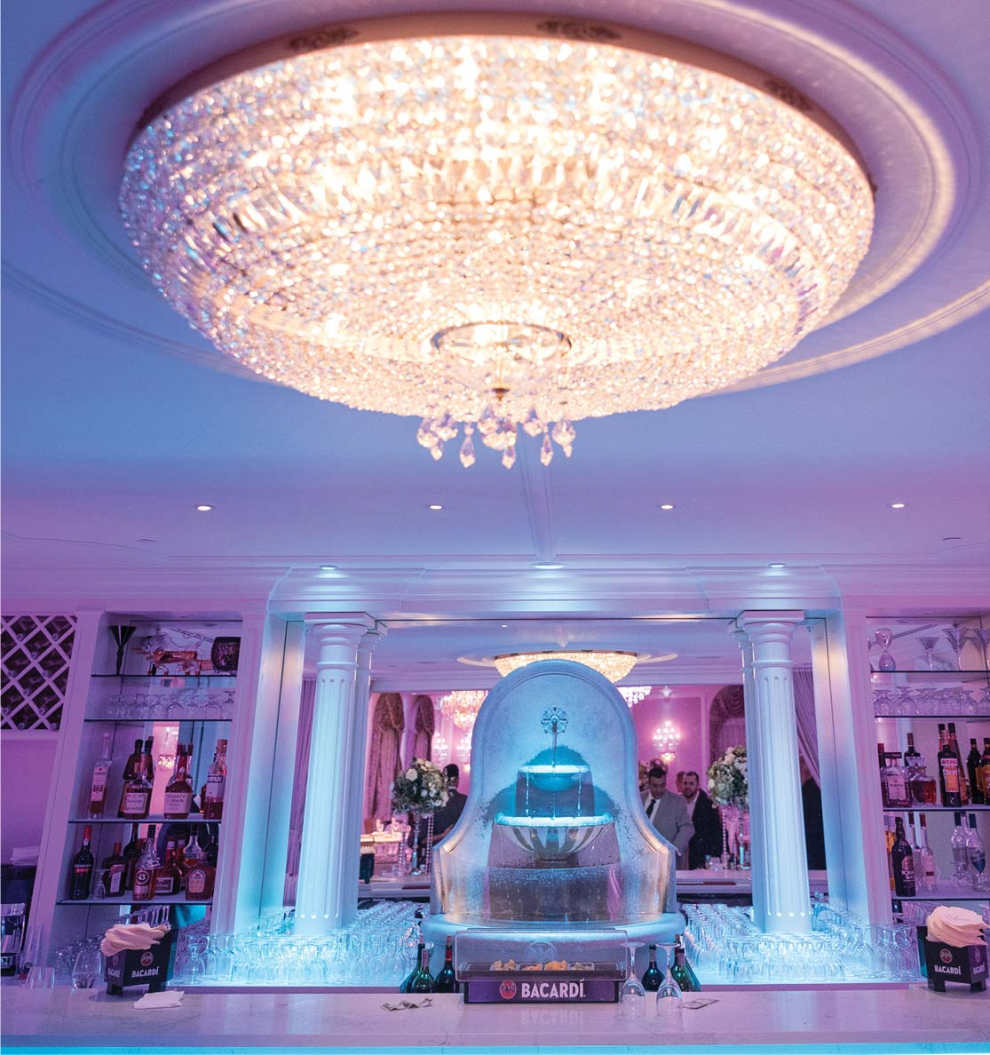 Bar with Crystal Chandelier
