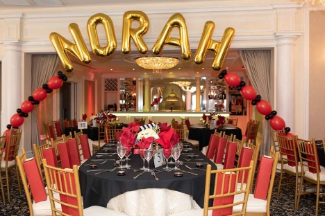 Ballroom Bar Mitzvah Party With Balloon Arch Name