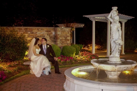 Bride Groom Outdoor Wedding Ceremony Garden Fountain