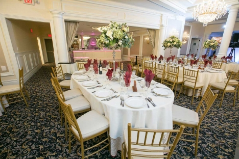 Elegant New Jersey Wedding Reception Venue With Bar Tables