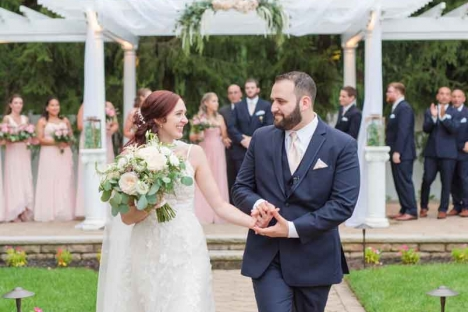 Nj Bride Groom Walking Down Outdoor Wedding Ceremony Aisle