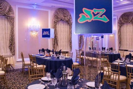 Themed Bar Mitzvah Party Table With Centerpiece